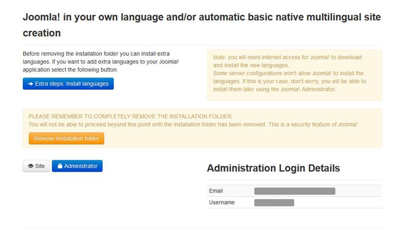 Joomla - Delete Installation Folder