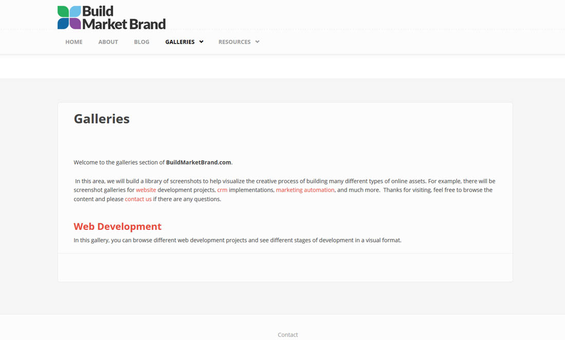 Building a Website - Galleries Landing Page